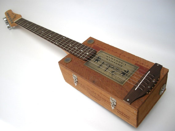 Jay Esteban Cigar Box Guitar Acoustic/ Electric handmade Ooak Custom Wooden Instrument
