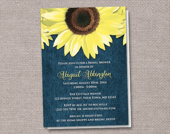 Denim Wedding Invitations: Rustic Sunflower Denim Bridal Shower By ArtisticallyInvited