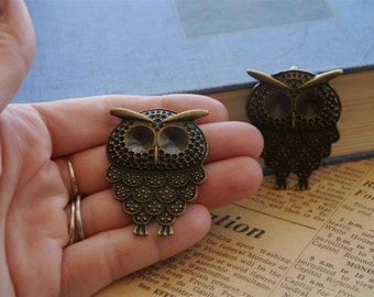 2 pcs Retro Owl Pendant Charms Can Hold Rhinestones 47mm (BC945)