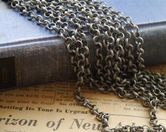 16 feet Gunmetal Antique Silver Dull Silver Open Link Rolo Chain 6mm Links (SCN981)