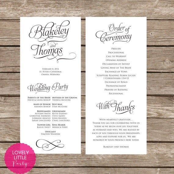 Blakeley Collection Classic Wedding Program- DIY Printable - Lovely Little Party - You Choose Color