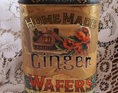 vintage art nouveau inspired gingersnap cookie wafers tin filled with soy ginger scented candle