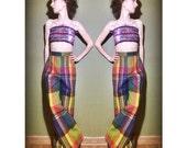70s xxs plaid trousers