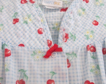 FREE shipping USA Light cotton robe, cherry print with snap buttons, polyester, cotton.