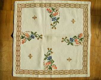 Vintage Swedish Small Tablecloth Napkin Table Topping Cross Stitch Spring Table Linens Swedish Folk Art Flowers Counted Thread Embroidery