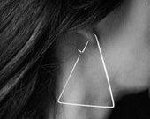 Triangle Hoop Earrings - Sterling Silver Earrings. Geometric Hoops - Modern Jewelry Design - Modern Earrings - Triangle Earrings - Unique