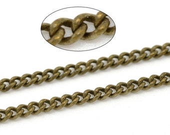 16ft Antique Bronze Link-Soldered Copper Curb Chain 3x2mm - Wholesale Jewelry Finding, Bulk Jewelry Making Supplies, Ships from USA - CH14