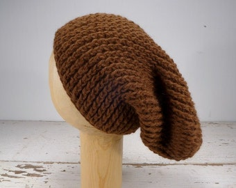 100% Baby Alpaca Ribbed Crocheted Slouchy Hat -  Brown