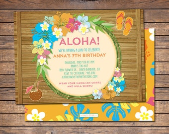 Luau Invitation Birthday Party Hawaiian Aloha
