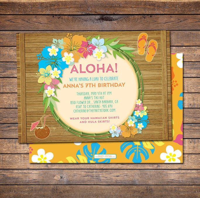 Luau Invitation Luau Birthday Invitation Luau Party – Hawaiian Theme Party Invitations