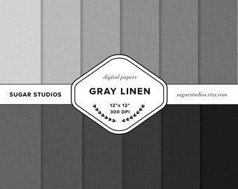Gray Linen 12 Piece Digital Scrapbook Paper Pack - Personal and Commercial Use - INSTANT DOWNLOAD