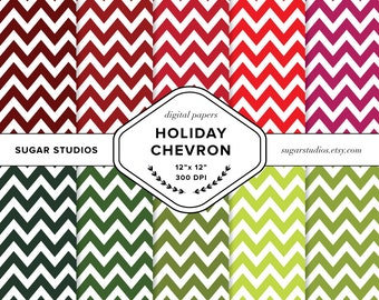 Holiday Chevron 10 Piece Digital Scrapbook Paper Pack - Personal and Commercial Use - INSTANT DOWNLOAD