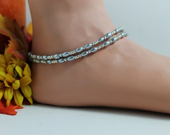 Light Grey and Silver Seed Bead Ankle Bracelet
