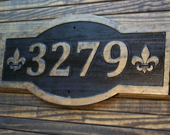 Carved Wide Address Sign Fleur De Lis Large Antique Brass Finished Wood Custom Carved Plaque