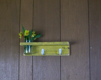 Distressed Wood Entry Shelf Hanger Hooks with Shelf and Flower Vase