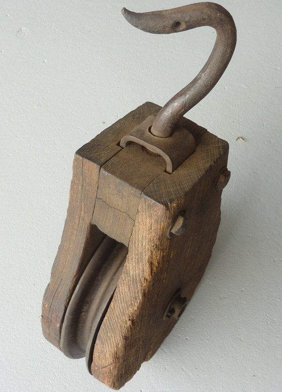 Pulleys Antique Looking : Vintage wooden barn pulley