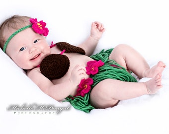 Crocheted Hawaiian Hula Girl Outfit- Photography Prop, Costume - Newborn Size