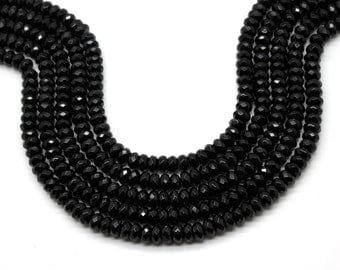 "GUB-3378-2 - Black Onyx Faceted Rondelles - 5X8mm - Gemstone Beads - Rondelle Beads - 16"" Strand"