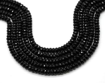 "GUB-3378-2 - Black Onyx Faceted Rondelles - 5X8mm - Gemstone Beads - Rondelle Beads - 16"" Strand"