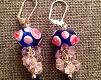 Fun blue and pink lampwork earrings