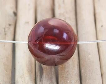 Large Hollow Hand Blown Round Glass Beads 25mm (4) Dark Crimson Blood Red Big Lightweight