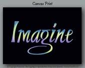 Imagine word art, Office decor, Inspirational canvas wall art, Yoga artwork, Girls bedroom decor, Spiritual, Positive affirmation print