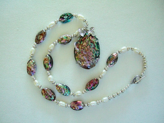 Abalone Shell Pendant Necklace with Freshwater Pearls, Abalone Shell Beads and Silver Plated Beads, Unique and Elegant Gift for Her