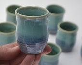 "Miniature Decorated Pot, Hand-thrown, MIniatureBlue Green Pottery, 2"" tall, IN STOCK"