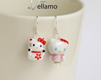 Dainty cat sterling silver earrings with miniature porcelain kitty, pink kitten asymmetrical earrings, cute delicate earrings