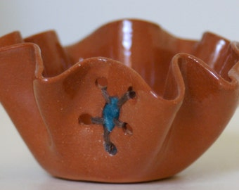 Tiny Ceramic and Handmade Felt Sculpture in Red Clay with clear glaze
