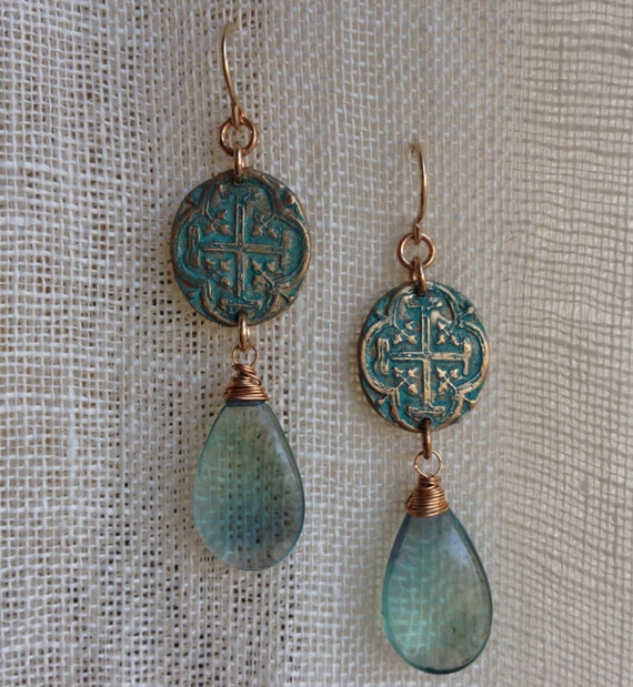 Ocean Voyager Bronze and Fluorite Earrings