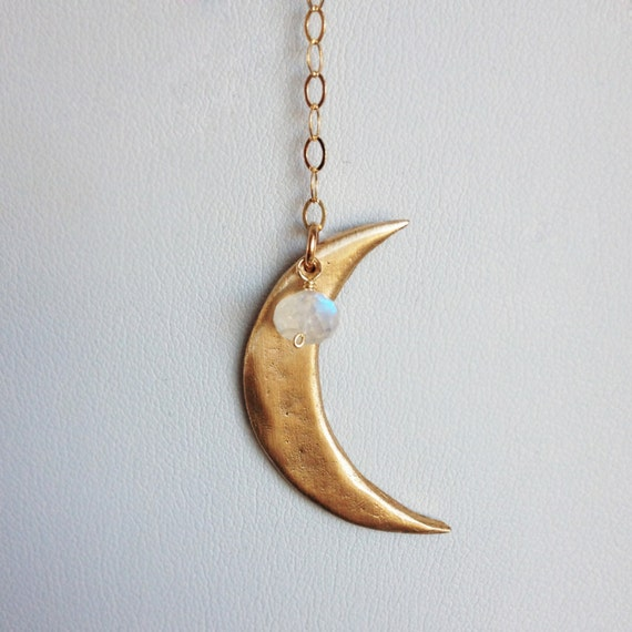 Luna Lariat Necklace with moonstone