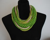 Unisex knitted scarf in green and light  brown