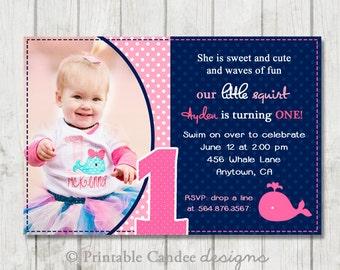 Pink and Navy Whale Birthday Invitation - DIY Custom Printable