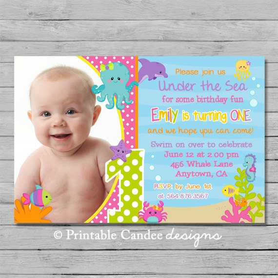 Girl Under The Sea Birthday Invitation Ocean By
