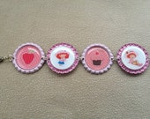 Little Girl Strawberry Shortcake Bottle Cap Bracelet
