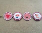 Little Girl Strawberry Shortcake Bottle Cap Bracelet