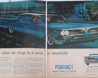 Magazine Ad, Vintage Advertising, Mad Men, Car Ad, 1950s, 1959 Pontiac, Authentic Ad, Man Cave, Props, Ephemera, All Vintage Man