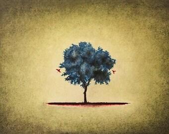 "Art print // Tree - hummingbird // ""Coincide"""