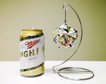 Miller High Life Beer Can Origami Ornament.  Upcycled Recycled Repurposed Art