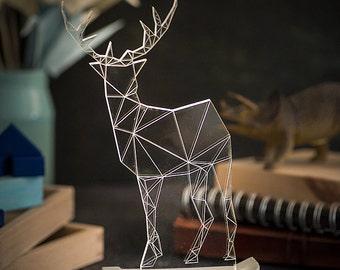 Large Modern Reindeer lamp, concrete deer lamp, christmas reindeer lamp, deer night light, woodland decorative lamp