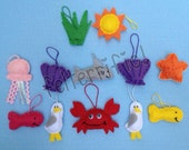 1 Dozen Handmade Felt Mini Day at the Beach Ornaments