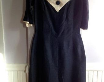 Vintage 1950's / 60's Suzy Perette Silk Sheath Dress