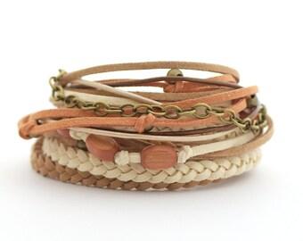 Beige Brown Boho Wrap Bracelet, Vegan Bracelet, Caramel Gypsy Bracelet, Eco Friendly Jewelry, wooden beads, gift for friends