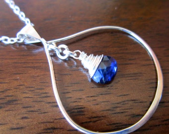Sterling Silver Blue Kyanite Necklace, Wire Wrapped Tear Drop Necklace