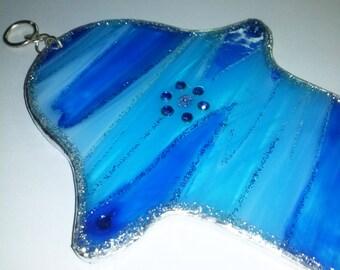 Wall Blue Stripes Glass Hamsa
