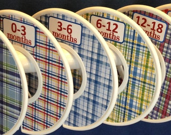 Custom Baby Closet Dividers Preppy Blue Green Red Madras Plaid Nursery Design CD773 Baby Clothes Organizers New Baby Boy Girl Shower Gift
