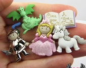 Jesse James Buttons 5pc Once Upon A Time Dragon, Knight, Unicorn, & Princess Buttons OR Turn them Into Flatback Decoden Cabochons