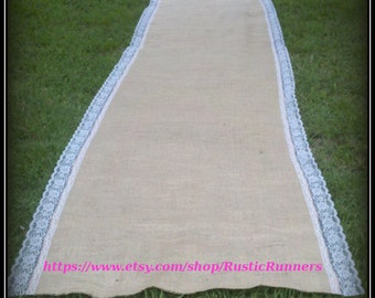 30 ft. long Rustic Charm Wedding Burlap and White lace Aisle Runner -  Rustic Burlap and lace Aisle Runner - Barn Wedding
