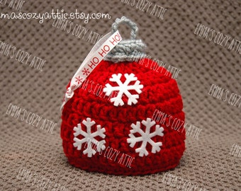 Ornament hat Christmas hat newborn baby boy photography prop baby girl photo prop red snowflakes
